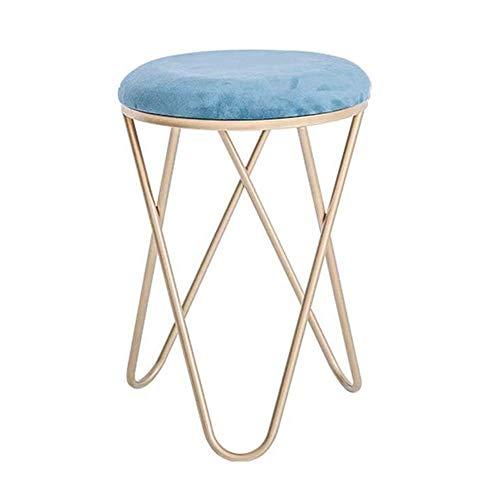 HSY SHOP-barkruk, ronde fluwelen stoel met metalen frame, poef ottoman ottoman, zitzak, max. 150 kg.
