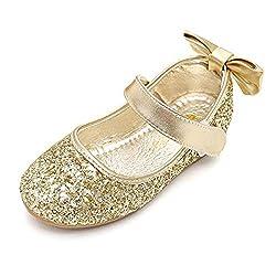E-Golden Heels Mary Jane Princess Flower Girl Shoes