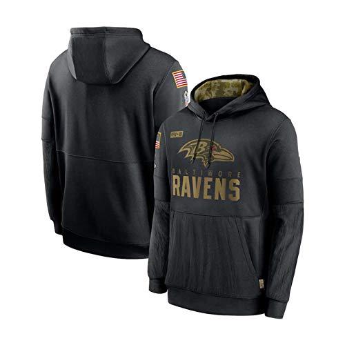 ZWTT Freizeitjacke Herren Freizeithemden Fußball Hoodies Baltimore Ravens Sporthemden Freizeitpullover Logo Sweatshirts, XXXL (190-195 cm)-Black-L