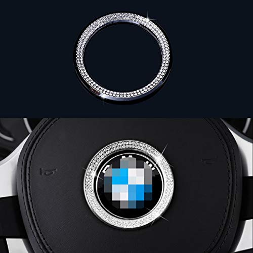 AEEIX Compatible Steering Wheel Logo Caps for BMW Accessories Parts Trim Covers Decal Sticker Bling Interior Decorations 3 4 5 Series X3 X5 E30 E36 E34 E39 F30 F34 F36 F15 G01 G30 G31 Crystal Silver