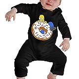 Homer-Simpson Neugeborenen Gilr's Jungen Kinder Baby Strampler Langarm Kleinkinder T-Shirts(12M,Schwarz)
