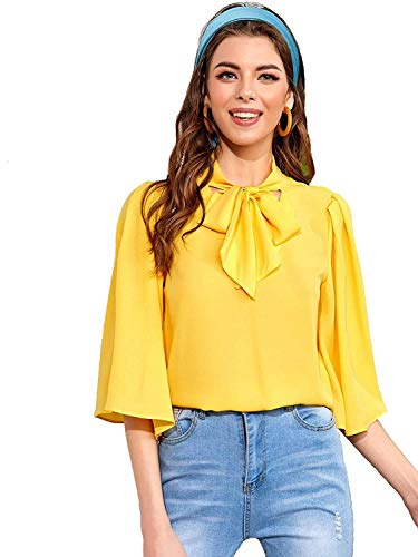 Shade Charade Women Casual Tie Neck Bell Sleeve Solid Top...