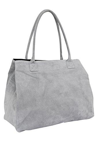 AMBRA Moda Damen Wildleder Handtasche Schultertasche Shopper WL810 (Grau)
