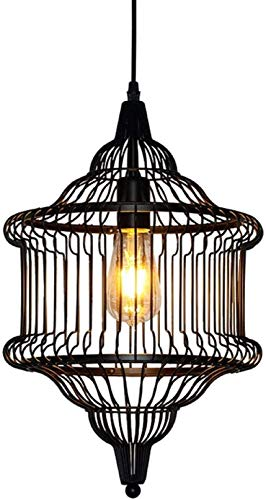 ZHLFDC Jaula de hierro de la lámpara, de hierro Diseño de materiales, lámparas decorativas for restaurantes retro, Tiendas de ropa, Escaleras, bares, salones, Etc. 30 cm de diámetro y 48 cm de altura