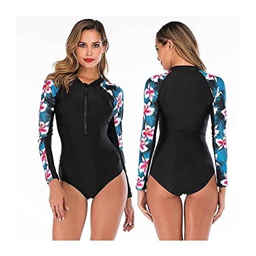 Drucken Tauchanzüge, Tauchen Badeanzug Langarm Frauen Bademode Badeanzug Rash Guard Surfen Schwimmenanzug (Color : D, Size : M)