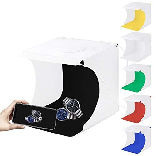 ZYX Mini Caja de Luz Estudio Portátil, Estudio Fotografía Plegable 20Cm*20Cm / 7,87 * 7,87Pulgadas, Kit de Tienda Fotografía con 20 Cuentas Luces + 6 Fondos Colores para Productos de Tamaño Pequeño