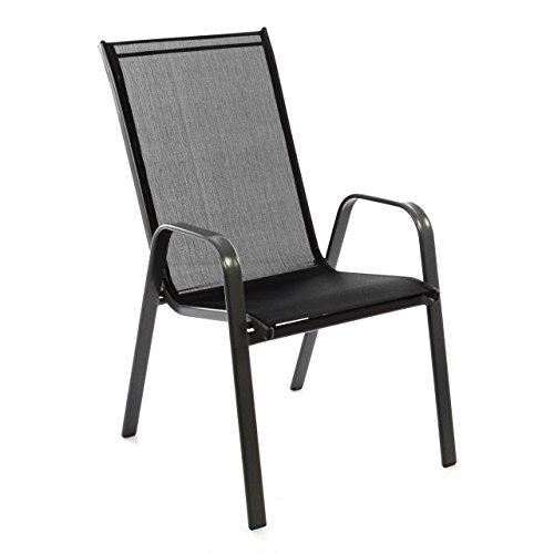 Nexos Gartenstuhl Stapelstuhl Stapelsessel Hochlehner Terrassenstuhl – Textilene Stahlgestell – stapelbar – Farbe: Rahmen dunkelgrau/Bespannung schwarz