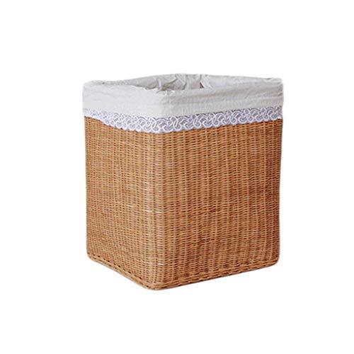 ZHAOSHUNLI Panier à linge Panier de rangement panier de rangement en bambou en rotin tressé doublé de grands vêtements de stockage de jouets (Color : Yellow)