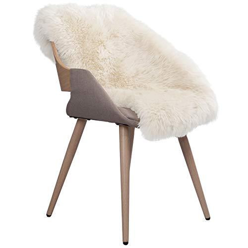WOLTU TP3509ws-XL Öko Lammfell Schaffell Teppich Bettvorleger Sofa Matte echtes Naturfell Longhair Weiß 90-110cm