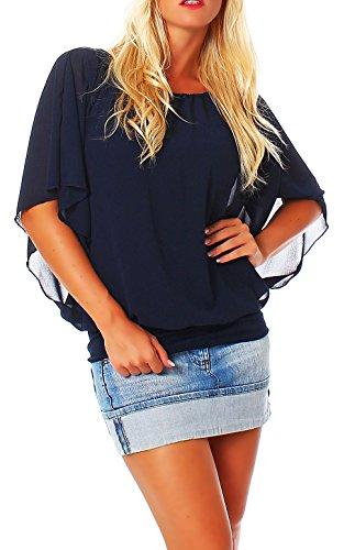 Damen Bluse im Fledermaus Look | Tunika mit Rundhals und breitem Bund | Blusenshirt Kurzarm | Elegant - Shirt 6296 (dunkelblau)