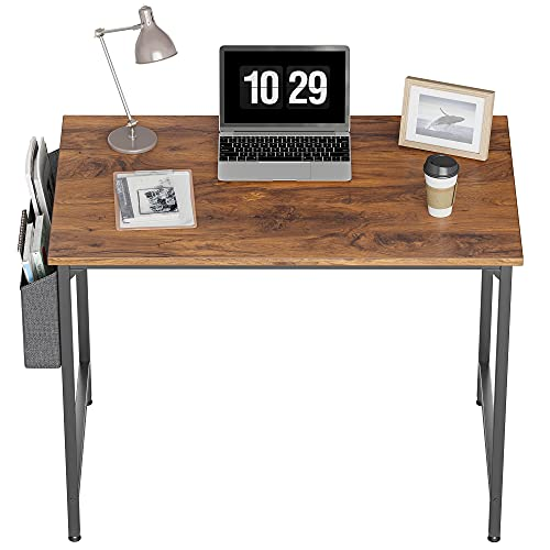 CubiCubi Study Computer Desk 40' Home Office Writing Small Desk, Modern Simple Style PC Table, Black Metal Frame, Deep Brown
