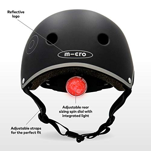 Micro Childrens Deluxe Safety Helmet Black Rear Light Fidlock Boy Girl Scooting Bike Small 48-52Cm