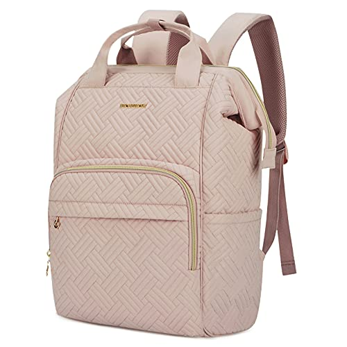 BAGSMART Laptop Backpack 15.6 Inches Women Backpack Stylish Stitch Pattern Water Resistant Casual Daypack Large Doctor Backpack for Work, School, Travel, Business, College (Pink)
