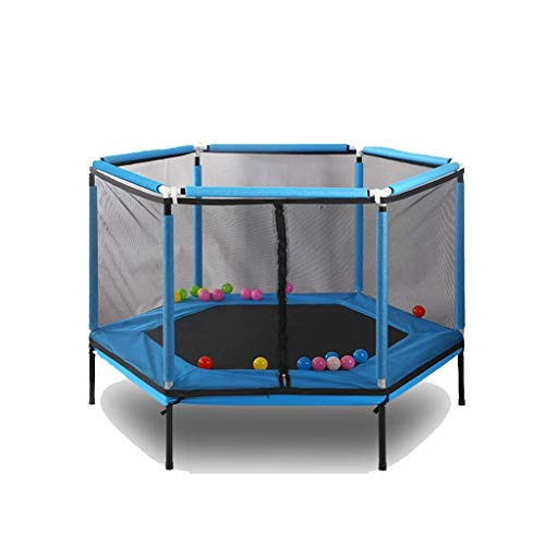 Yuany Hexagon Children's Home Trampoline Baby Care Fence with Care Network Juego Interactivo para Padres e Hijos Fitness Trampoline Trampoline Trampoline (Color: Azul)