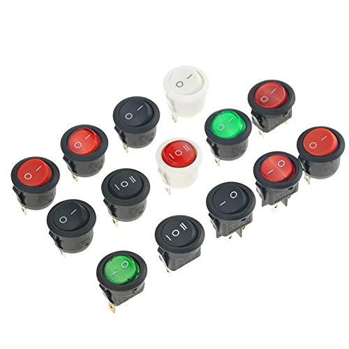 BJKKM 10 PCS ON/Off Ronda de balancín del Interruptor eléctrico 6A /...