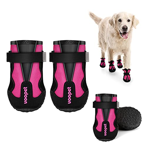 voopet Dog Boots Paw Protector Dog Shoes with Reflective Nylon Elastic Straps to Adjust Tightness Non Slip Outsole Safety & Comfortable for Hiking Trail Running & Backpacking 4Pcs/Set