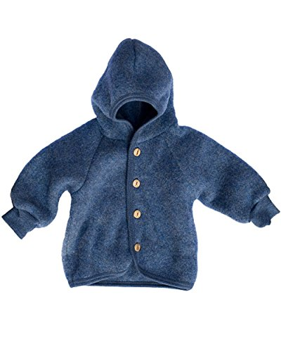 Engel Baby Jacke mit Kapuze Wollfleece, 74-80/74/80, blau Melange