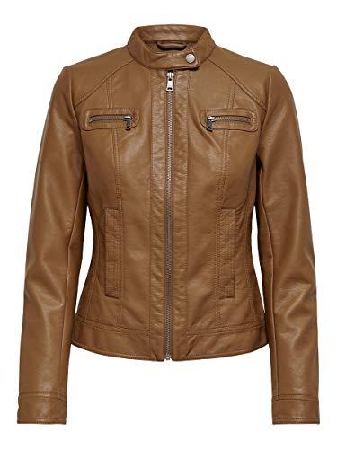 ONLY Damen Bandit PU Biker Jacke, Cognac, 36(S)