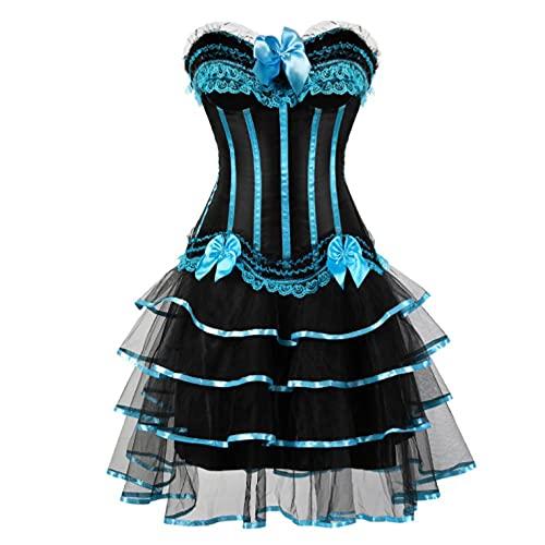 Corset Corsé Mujer Moda Mujer Sexy Stripe Overbust Corset Y Lotus Leaf Lace Ballet Falda Corta Set Plus Size S-6Xl-Sky_Blue_6XL