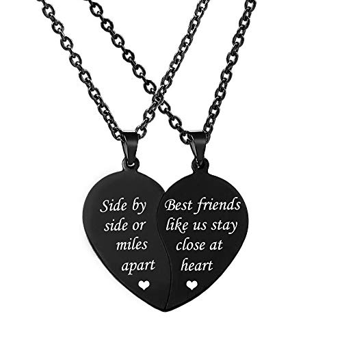 jovivi friends necklace for 2 silvers MJartoria BFF Necklace for 2-Best Friends Necklace, Best Friends Like Us Stay Close at Heart Split Heart Friendship Necklaces Gifts for Friends