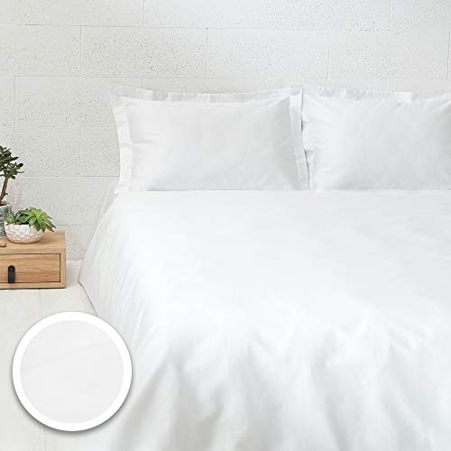 DREAMON Sateen Bedding Duvet Cover Set - 3pcs Duvet with Pillowcases - for Single, Double and King Size Beds - White
