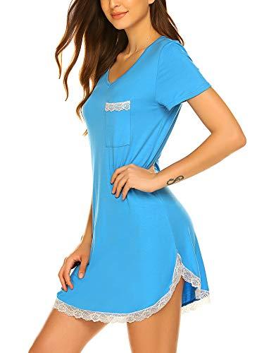 Ekouaer Women's Nightshirt Short Sleeve Button Down Nightgown V-Neck Sleepwear Pajama Dress-XS