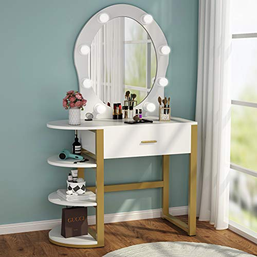 Lowest Price! Tribesigns Vanity Table with Lighted Mirror, Makeup Vanity Dressing Table with 8 Lights and Drawer, Storage Shelves for Women and Girl, Dresser Desk Vanity Set for Small Space,Bedroom, Gold and White