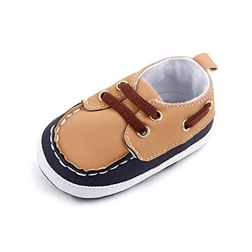 FURONGWANG6777BB Baby Boys Soft Sole PRAM Zapatos Primer Walker Recién Nacido PU Zapatillas Zapatillas Zapatos Planos Casuales (Color : Brown, Size : 0-6 Months)