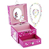 Kids Musical Jewelry Box for Girls with Drawer and Jewelry Set with Lovely