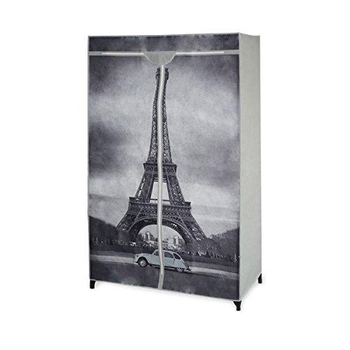 neu.holz] Faltschrank Kleiderschrank Schrank Textil - Kleiderschrank ideal für Saisonware und Studenten Modell Eiffelturm