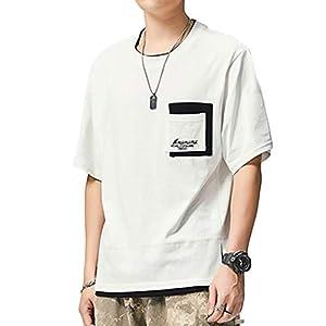 Tシャツ メンズ 半袖 無地 五分袖 カットソー 吸汗速乾 軽量 柔らかい white L