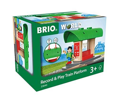 BRIO World 33840 Bahnhof mit Aufnahmefunktion – Eisenbahnzubehör für die BRIO Holzeisenbahn – Kleinkinderspielzeug empfohlen für Kinder ab 3 Jahren