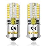 Bonlux 2-PCS BA15S 3 Watt 12V Ampoule LED DC Blanc chaud 3000K baïonnette unique Contact SBC BA15S 1156 1141 1073 1093 1129 LED remplacement pour l'éclairage intérieur RV caravane bateau