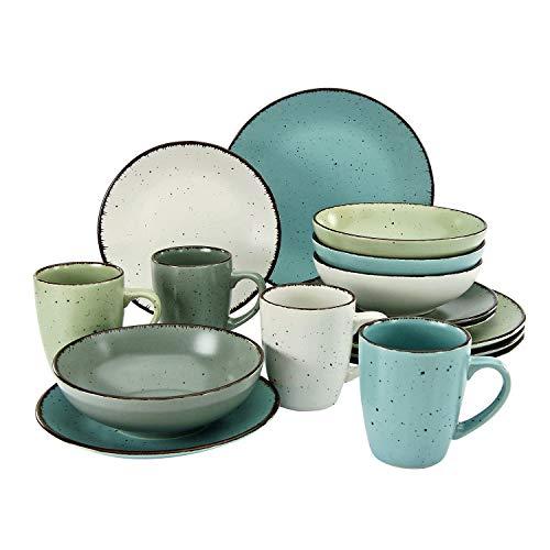 CreaTable, 22234, serie FASHION, juego de vajilla, servicio combinado 16 piezas, cerámica de gres