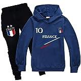 Xpialong Jogging Survêtement De Football France 2 étoiles Enfant Sweat à Capuche Filles Printemps garçons (02 Sets,12-13 Ans)