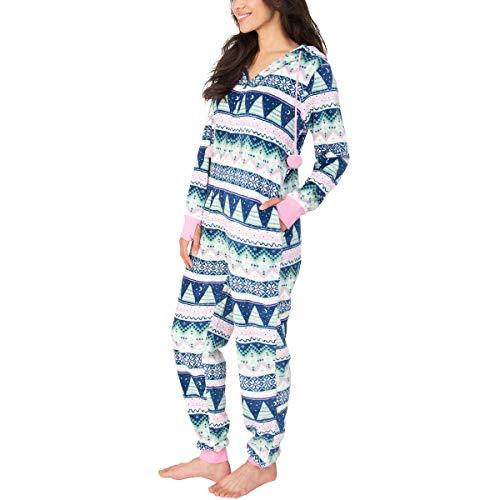 Munki Munki Ladies Hooded Fleece Onesie With Pockets, One-Piece Pajama (S, Pink/Fair Isle)
