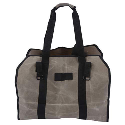 Qioniky Bolsa de leña, Portador de leña portátil, Resistente al Fuego Resistente a los arañazos para Parrilla(Gray)