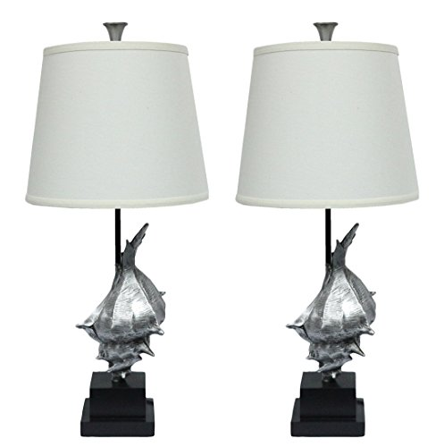Urbanest Set of 2 Conch Table Lamps, Antique Silver