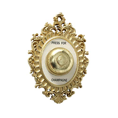 WHW Whole House Worlds Grand Hotel Decorative Door Bell, Champagne Theme, Ornamental Plaque, Non-Working Ringer, 9 Tall x 5.5 Inches Wide, Metallic Gold and White Painted Polyresin