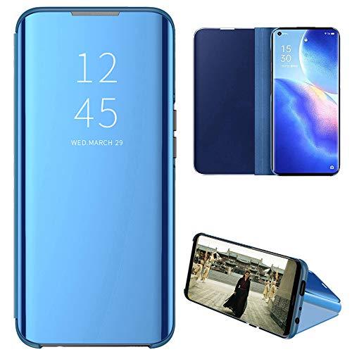Eabhulie OPPO Reno 5 Pro 5G Funda, Cubierta de Espejo Galvanoplastia Cartera Flip Case Cover con Soporte Plegable para OPPO Reno 5 Pro 5G Azul