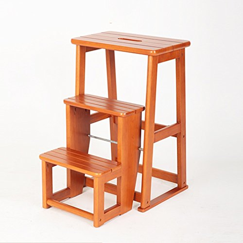 QFFL tideng Schritt-Schemel-Massivholz-dreistufiger Treppenhaus-Schemel Doppelt verwendbarer faltender Stufen-Schemel-Ausgangsinnenleitern-Honig-Farbe 400 * 240 * 605mm