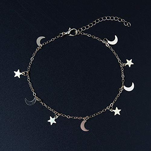 Pulseras,Pulsera Fashion Gold Color Moon Star Charms Pulsera para Pulseras de Accesorios para Mujer 4g Silver