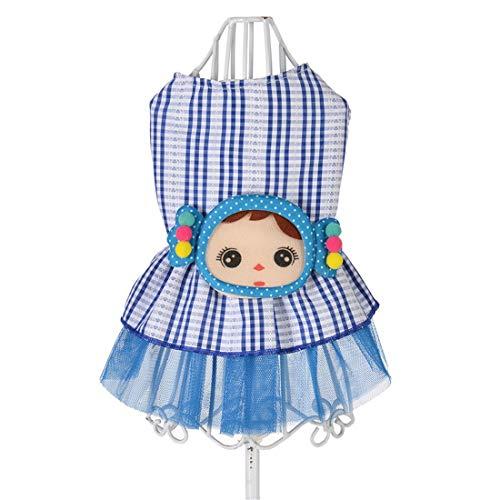 PZSSXDZW Ropa para Mascotas Primavera y Verano Linda Falda giratoria Vestido de niña pequeña Ropa para Perros Blue X-Small