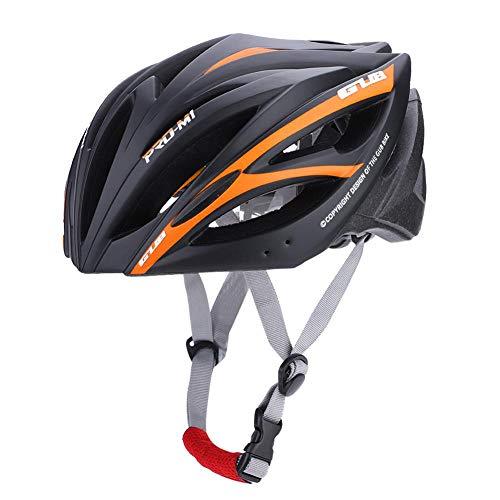 Casco para Bicicleta con 21 Puerto de Ventilación , Ciclismo Ajustable Cascos de Bicicleta de Montaña y Carretera para Protección de Seguridad y Transpirable para Adultos , 55-61cm(Negro + Naranja)