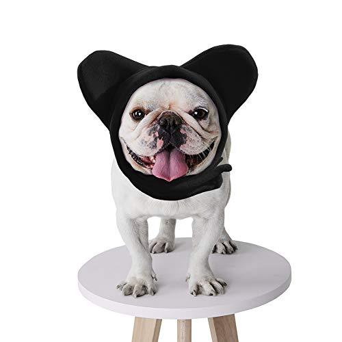 BZB Cute Dog's Fleece Bat Hat Soft Warm Adjustable French Bulldogs Winter Hats Pet Supplies (Small,Black)
