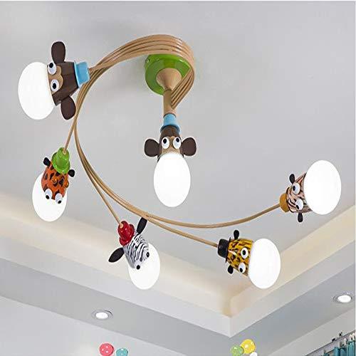 YLJYJ Cartoon Animal Head Lámpara de Techo,Lámpara de Dormitorio LED para Niños,Luz de Techo LED para Dormitorio,Luz de Techo Inteligente,3 Colores Inteligente Sin Escalones