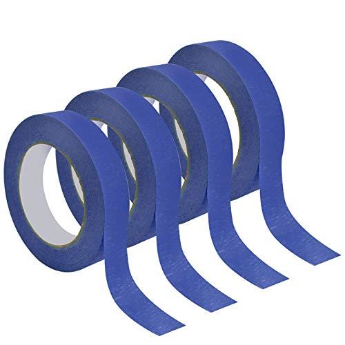 4 Rollen Kreppband, 24mm Malerklebebänder Malerkrepp Malerband Abklebeband Papierklebeband Masking Tape Maler Klebeband für Malen und Dekorieren, 50 m Länge (Blau)