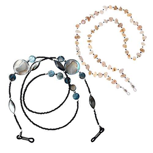 Baoblaze 2pcs Porte-Lunette de Lecteur Collier en Perles Bijoux Femme Cadeau Antidérapant