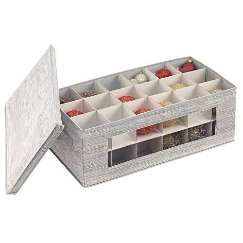 mDesign Caja organizadora Grande para Adornos para Regalos – Estuche de Tela con Tapa y 36 Compartimentos – Organizador de Accesorios de Fibra sintética para Cintas y Lazos – Gris y Beige