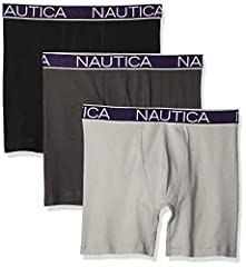 SUPER SOFT: Nautica Cotton Men's Underwear Briefs are super soft and reduce skin irritation DURABILITY: Strong tensile strength cotton makes Nautica's Boxer Briefs a great long lasting base layer 3 Pack MOISTURE CONTROL: Nautica Boxer Briefs are brea...